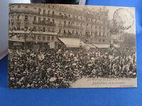cpa 34 montpellier meeting viticole 1907 vin defilé place de la comedie