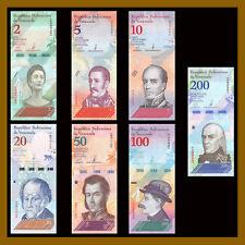 Venezuela 2 5 10 20 50 100 200 Bolivares Soberano (7 Pcs Set), 2018 New Unc