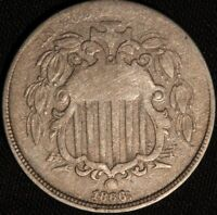 1866 Shield Nickel Repunched Date F-10 S1-3007 BOLD, WIDE REPUNCHED DATE, RARE!