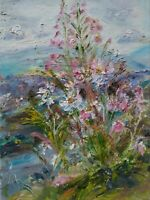 Moon Daisy & Willowherb, Wensleydale. Oil on canvas panel,Yorkshire Dales.signed