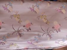 """8 Yards Embroidered Floral Lavender Japanese Satin Fabric 30.5"""" Wide"""