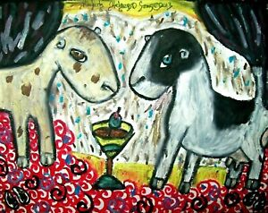 Mini LaMancha Martini Art Print 11x14 Dairy Goat Farm Collectible Signed Artist