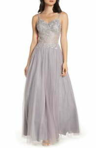 Blondie Nites Juniors Applique Illusion Mesh Gown $259 Size 9 # 7B 1514 Blm
