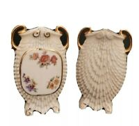 "Pair Of Czechoslovakian Porcelain Vases Flat Table Top 6"" x 4"" Gold Crown Mark"