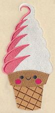 "Clearance: 9 x 12"" Embroidered Quilt Block-Pre-Order-Ice Cream Social Swirl Cone"