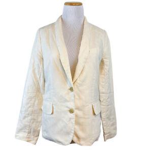 J.Crew Women's Cavalry Twill Blazer Ivory Cream Linen Blend Jacket Cotton Size 4