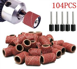 104Pcs Sanding Band Drum Sleeve 60 120 320 Grit 4 Mandrel For Dremel Rotary Tool