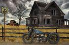 Harley Davidson Flathead Farm Route 66 Sturgis Motorcycle Biker Art Print