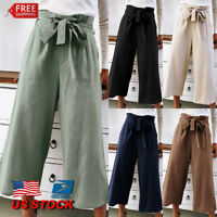 Women Wide Leg Plain Solid Casual High Waist Loose Ladies Nine Pants Trousers US