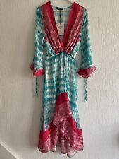 PINK TURQUOISE FLOATY KAFTAN DRESS BNWT UP S SUMMER HOLIDAY FESTIVAL POOL BEACH