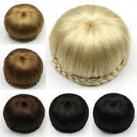 Women's Straight Drawstring Clip In Hair Bun Piece Updo Cover Hair Extensions
