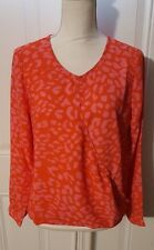 New Womens Coral Pink Eclair Light Weight Sheer Long Sleeve Shirt Blouse M