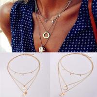 Women's Jewelry Shell Cross Multilayer Gold Chain Drop Pendant Choker Necklace