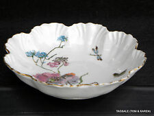 LIMOGES FRANCE A. LANTERNIER MARK #4 189O'S BOWL POPPY & BUTTERFLY HAND PAINTED