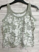 NEXT Summer Vest Top Size 18-UK White/Green Floral Stretch Cotton