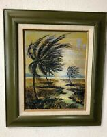 BETTY BEYER Original Signed Vintage California Painting TROPICAL WINDS Acrylic