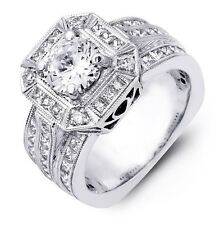 BEAST OF A RING! 14gram Round Cut Halo Semi Mount 3 Rows of Princess Cuts 14/18K