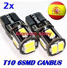 2 x Bombillas T10 6 LED  CANBUS W5W Posicion Bombilla coche moto Blanco