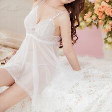 Women Lingerie Lace Robe Babydoll Dress Sleepwear + G-string Underwear Nightwear