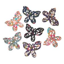 "Sexy Sparkles 5 Pcs Butterfly Wood Charm Pendants Assorted Colors 50mm(2"")"