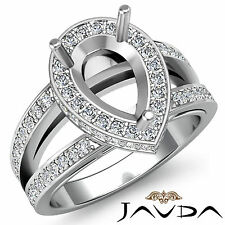 Diamond Engagement Halo Pave Ring Pear Semi Mount Split Shank Platinum 950 0.7Ct