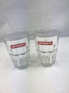 SAY SMIRNOFF VODKA TUMBLER ROCK GLASSES X2