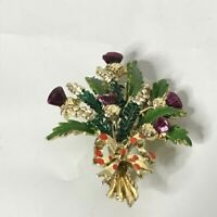 """Vintage Floral Bouquet Brooch Approximately 2.5"""""""