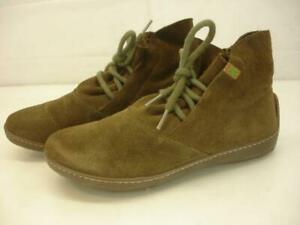 Women's 5.5 6 M 36 El Naturalista Angkor Green Suede Leather Ankle Boots Lace-Up