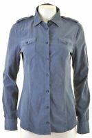 BENETTON Womens Corduroy Shirt Size 14 Medium Blue Cotton  GZ18