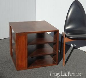 Vintage Mid Century Modern Solid Wood Three Tier Side End Table ~ French Country