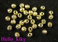 300Pcs  Antiqued gold carved round spacer beads 4mm A237
