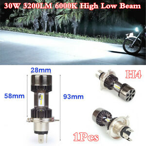 H4 Motorcycle Headlight LED Buld Fog Lamp Light 30W 3200LM 6000K High Low Beam