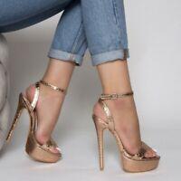 Women's Ankle Strap Sandals Super High Heels Open Toe Buckle Platform Shoes