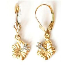 14K Solid Yellow Gold Hawaiian Hibiscus Flower Earring W:10 mm L: 25 mm E2517-31