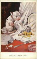 GE Studdy Dog Fantasy BONZO - LOVE'S LABOUR LOST Old Postcard
