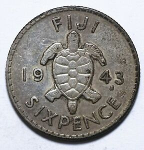 1943, Fiji, 6 Pence, George VI, Silver, VF, KM# 11a, Lot [1649]