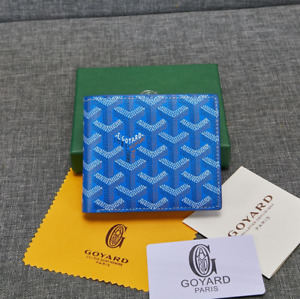 Goyard Bifold Leather Wallet Blue Men's