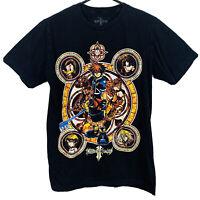 Disney Anime Kingdom Hearts T-Shirt Short Sleeve Donald Goofy Mens Size M Black