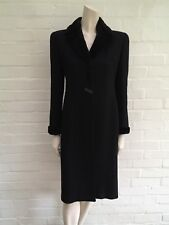 Valentino Virgin Wool Real Fur Trim Fitted Black Coat Size I 42 UK 10 US 6