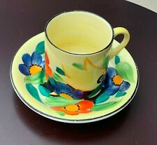 SUPERB SUSIE COOPER GRAY'S 1920s HAND-PAINTED COFFEE CAN & SAUCER
