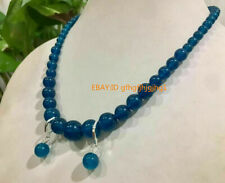 "Gemstone Necklace Earring Set 18"" Natural 6-12mm Ink Blue Apatite Round"