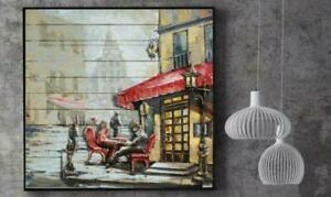 French Cafe 3-D Hand Made Wall Mount Oil Painting Artwork Home Decor Hand Made