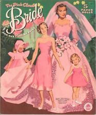 Vintge 1961 Pink Cloud Bride Paper Dolls ~Nice Laser Reproductin~Orig Size Uncut