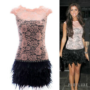 MCBERRY INSPIRED CELEBRITY LUCY MECK PINK LACE BLACK FEATHER DRESS GREAT GATSBY