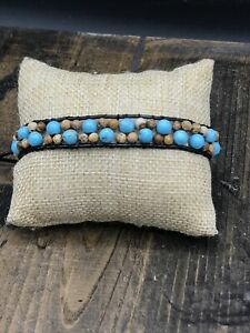 Barse (Gem Show)Lake Day Bracelet- Leather & Stones- New with Tags