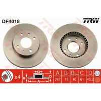 TRW 2x Bremsscheiben belüftet lackiert schwarz DF4018