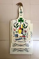Set 3 taglieri Ambrosioni vintage in legno stampati con disegni culinari