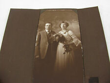 Vintage Antique Photo - Young Couple, Man & Woman - Wedding Photo ? in Holder