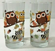 Owl glasses cups tumblers Crisa by Libbey retro lot of 2