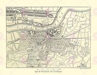 Map Repro Antique Woolwich Plumstead London Canvas Art Print